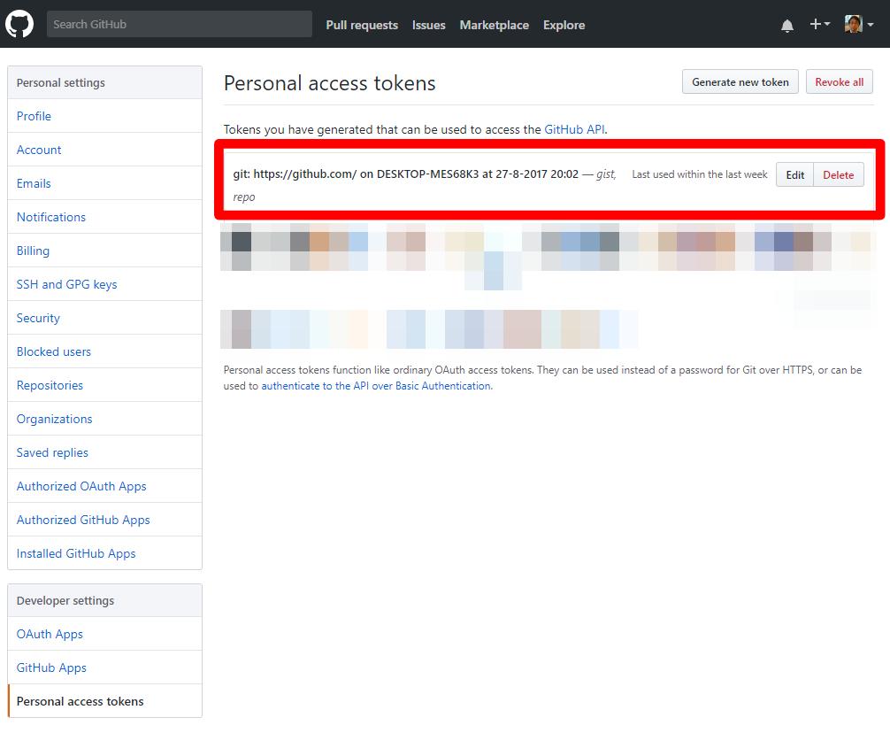 github上のPersonal Access Tokenの画面
