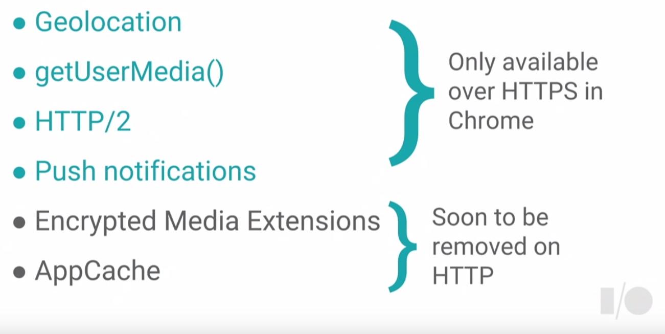 HTTPSを必要とする機能