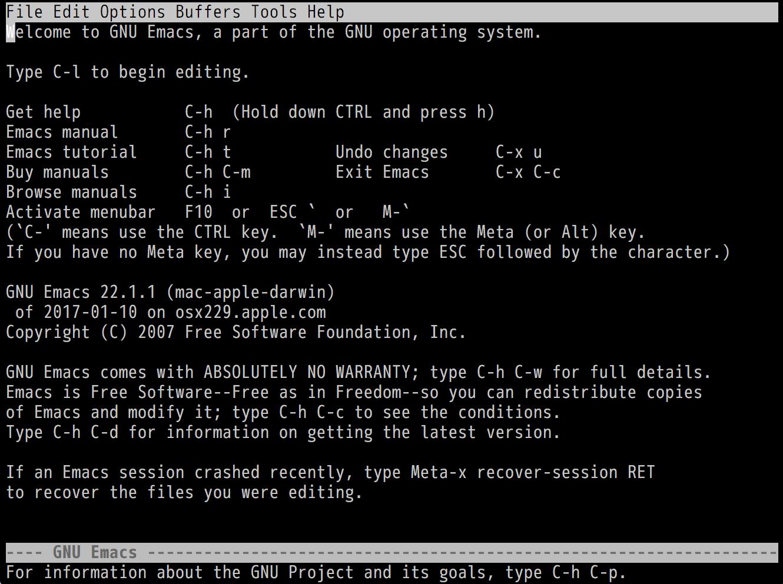 Emacs 22.1.1の起動画面