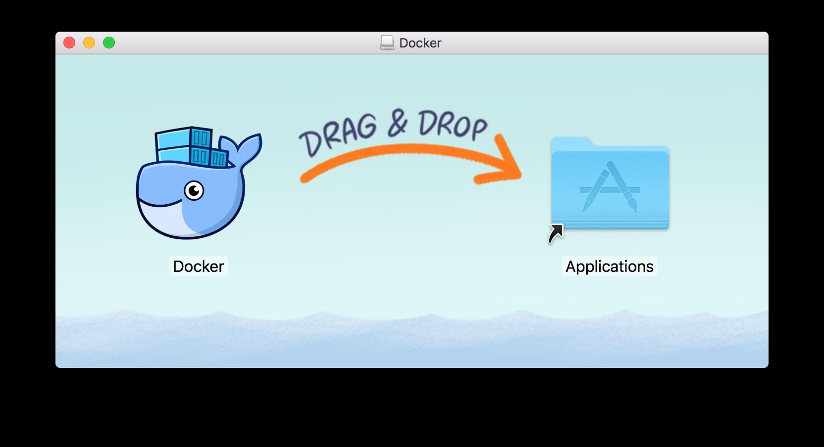Docker.dmg をマウントすると表示される画面
