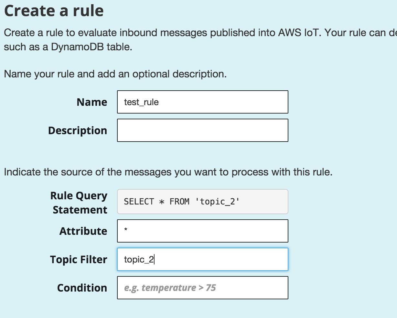 how to create amazon iot rule