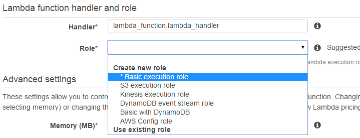 Lambda function handler and role