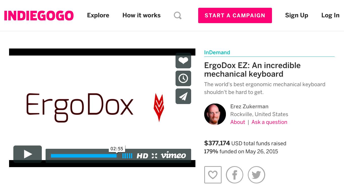 IndieGoGoのプロジェクトページ