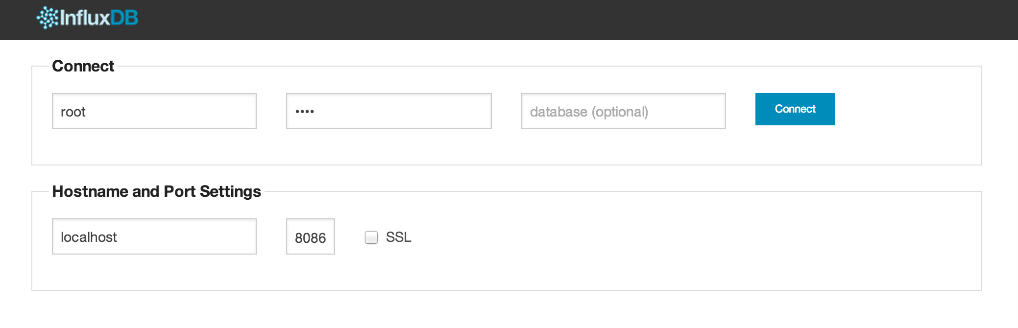InfluxDB WebUI login